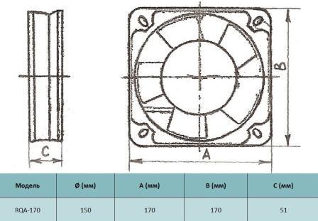 Габариты осевого вентилятора Alaska RQA 170. Купить в Украине вентилятор Alaska RQA