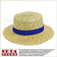 """Летняя шляпа """"Канотье"""" соломенная с яркой синей лентой"""