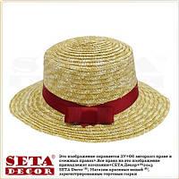 """Летняя шляпа """"Канотье"""" соломенная с яркой бордовой лентой"""