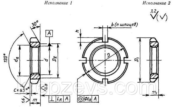 Гайка М27 круглая, шлицевая, чертеж