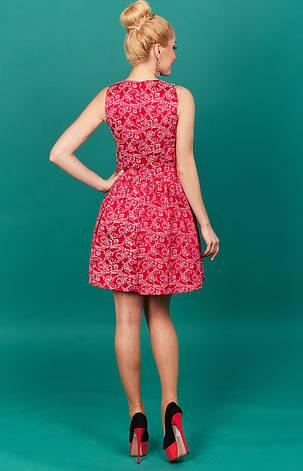 Стильное коралловое молодежное платье, фото 2