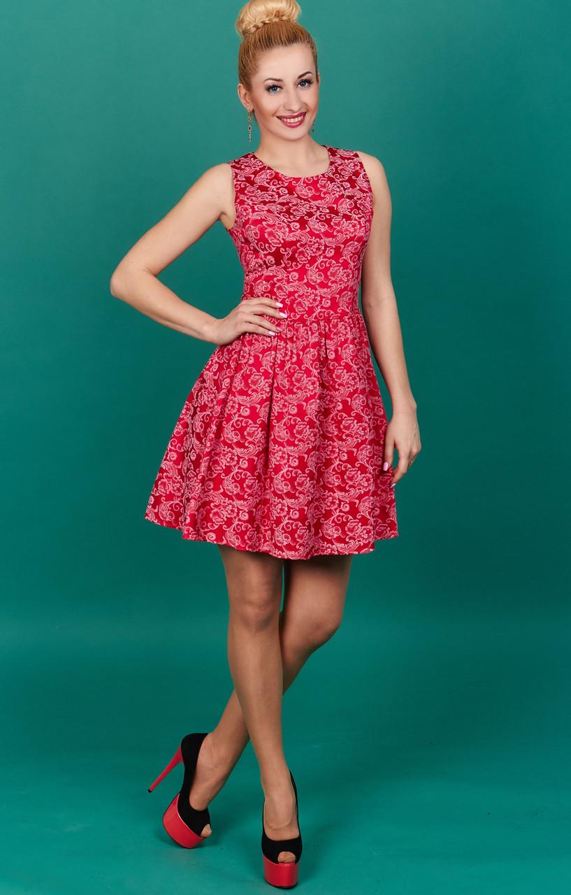 Стильное коралловое молодежное платье
