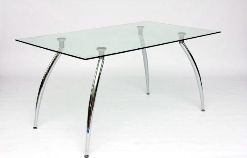 Стол стеклянный кухонный нераскладной на хромированных ножках AT1-205 akh