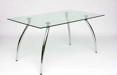 Стол стеклянный кухонный нераскладной на хромированных ножках AT1-205 akh, фото 2