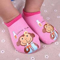 Носки - следы антискользящие Dear Baby Розовые с обезьянкой