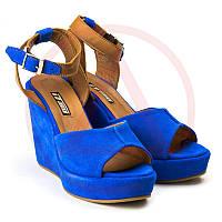 Синие туфли женские кожаные 1401-5blue