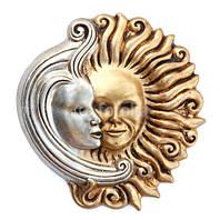 Панно из гипса для интерьера Луна с солнцем