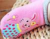 Носки - следы антискользящие Dear Baby Розовые с зайчиками