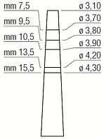 Остеотом - расширитель места имплантации, вогнутый, прямой, диаметр 3,10-4,30 мм, Medessy, 1300/4