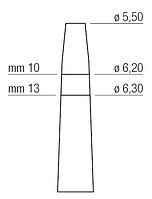 Остеотом - расширитель места имплантации, вогнутый, прямой, диаметр 5,50-6,30 мм, Medessy, 1300/6