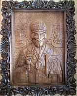 Икона резная Николая Чудотворца из бука