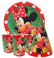 Набор для детского дня рождения  Мини Маус в горошек. Тарелки -10 шт. Стаканчики - 10 шт. Колпачки - 10 шт.