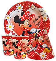 Набор для детского дня рождения  Мини Маус в ромашках. Тарелки -10 шт. Стаканчики - 10 шт. Колпачки - 10 шт.