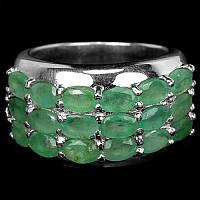 """Потрясающий серебряный перстень с изумрудами """"Королевский"""", размер 18 от студии LadyStyle.Biz"""