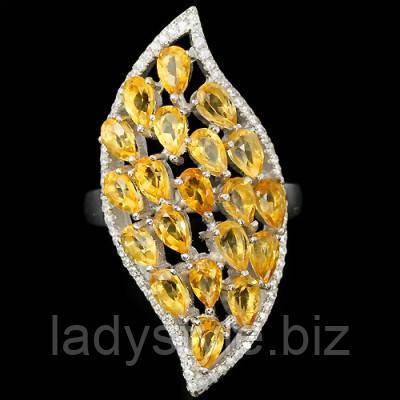 """Крупный серебряный перстень с цитринами """"Царская печать"""", размер 18,7"""