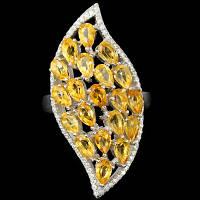 """Потрясающий серебряный перстень с цитринами """"Царская печать"""", размер 18,7 от студии LadyStyle.Biz"""