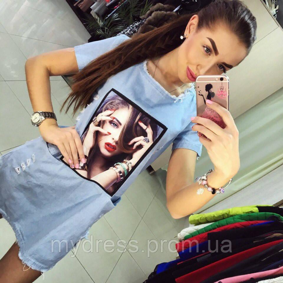 Платье-туника джинс