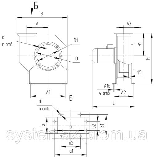 Габаритні і приєднувальні розміри відцентрового вентилятора ВЦ 10-28 №3,15 (Виконання №1)