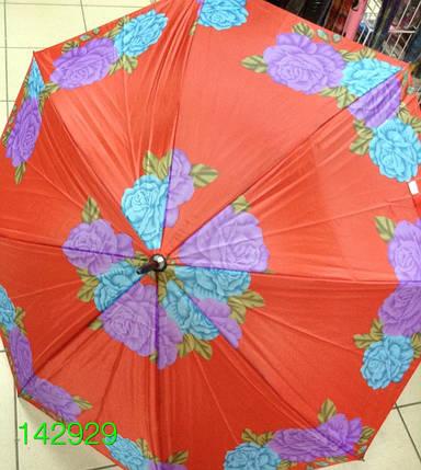Зонт женский, трость, коричневая ручка, №T-1-A. Цена розницы 104 гривны., фото 2