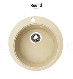 Круглая кухонная мойка Granitika Round R454520 песок 45х45х20