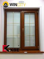 Окно металлопластиковое КВЕ 70 золотой дуб со шпросами