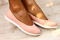 Кожаные балетки цвет пудра. Стиль 2016