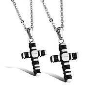 Крест ювелирная сталь, вставки каучук