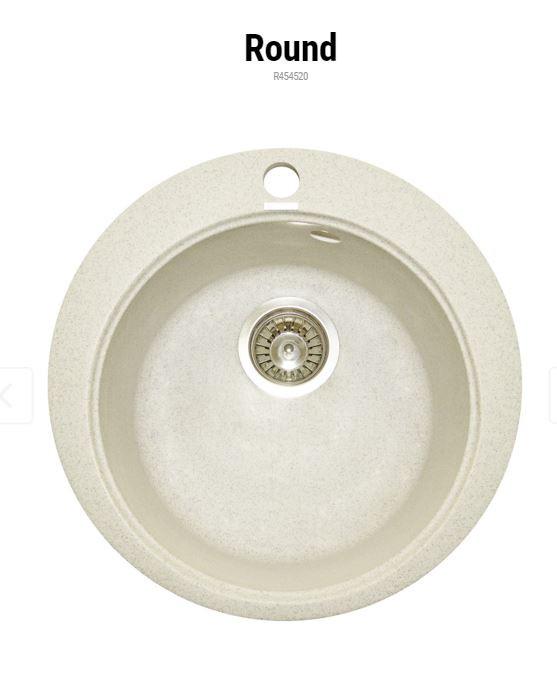 Круглая кухонная мойка Granitika Round R454520 лён 45х45х20