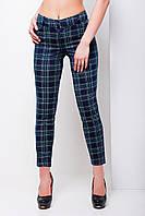 Темно синие узкие клетчатые женские брюки из французского трикотажа
