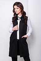 Черный длинный женский жилет без застежки прямого кроя из французского трикотажа