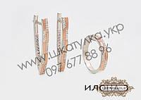 Серебряный гарнитур с золотом и цирконом Илона 3, фото 1