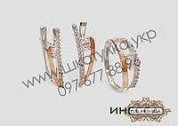 Серебряный гарнитур с золотом и цирконом Инесса