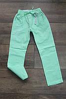 Стрейчевые котоновые брюки для девочек 98, 104, 110, 116, 122рост. Цвет салатовый