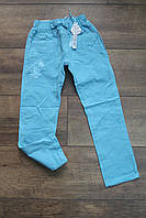 Стрейчевые котоновые брюки для девочек 98, 104, 110, 116, 122, 128 рост. Цвет голубой