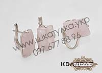 Серебряный гарнитур с кабашоном Квадрат, фото 1