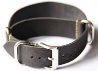 Ремешок кожаный Bros NATO Straps (Италия) для наручных часов, черный, 20 мм