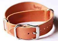 Ремінець шкіряний Bros NATO Straps (Італія) для наручних годинників, коричневий, 22 мм