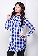 Женская клетчатая рубашка удлиненного свободного фасона цвета электрик