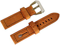 Ремінець шкіряний Banda (Італія) для наручних годинників з класичною застібкою, коричневий, 20 мм
