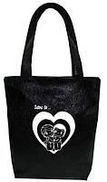 """Женская сумка - """"Love is..."""" Б220 - черная"""
