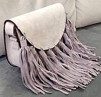 Женская сумка  с бахромой серая