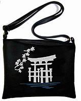 """Сумка - планшет с вышивкой """"Япония"""" С72 - черная"""