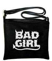 """Сумка - планшет с вышивкой """"Bad Girl"""" С97 - черная"""