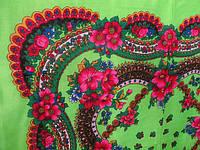 Салатовый платок Ланцы. Размер 70*75,Состав: 60 % шерсть,40 % вискоза