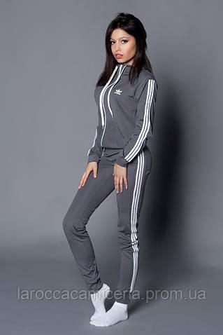 Женский молодежный спортивный костюм. Код модели КС-13. Цвет серый с белым.