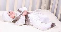 """Роскошный набор на выписку """"Джентльмен"""" для мальчика. Молочный с коричневым жилетом"""