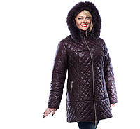 Куртка зимняя женская стеганная больших размеров от производителя,М-321 шоколад