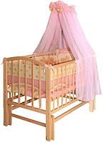 Детская кроватка Алинка, шарнир-подшипник, бук, откидная боковина