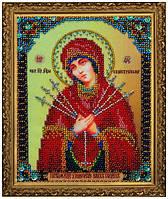 Набор для вышивания бисером Миниатюрная Икона Божией Матери Семистрельная P-159