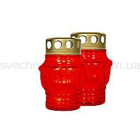 Лампадка стеклянная красная со свечой-запаской W003
